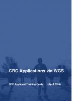CRC (DBS) Integration – CRC Applicant Manual Version 3.0